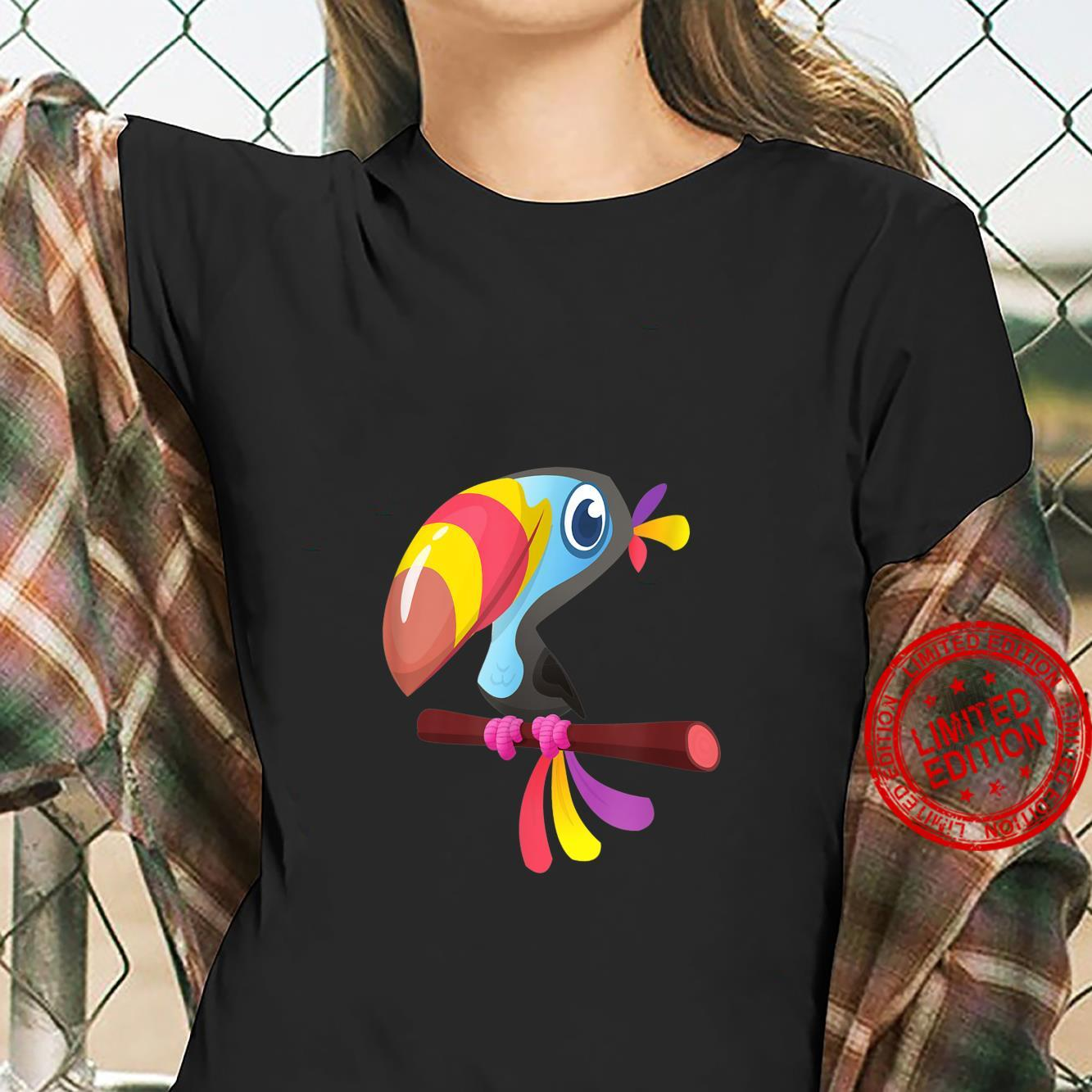 Colorful Toucan On Branch Cute Tropical Birds Shirt ladies tee