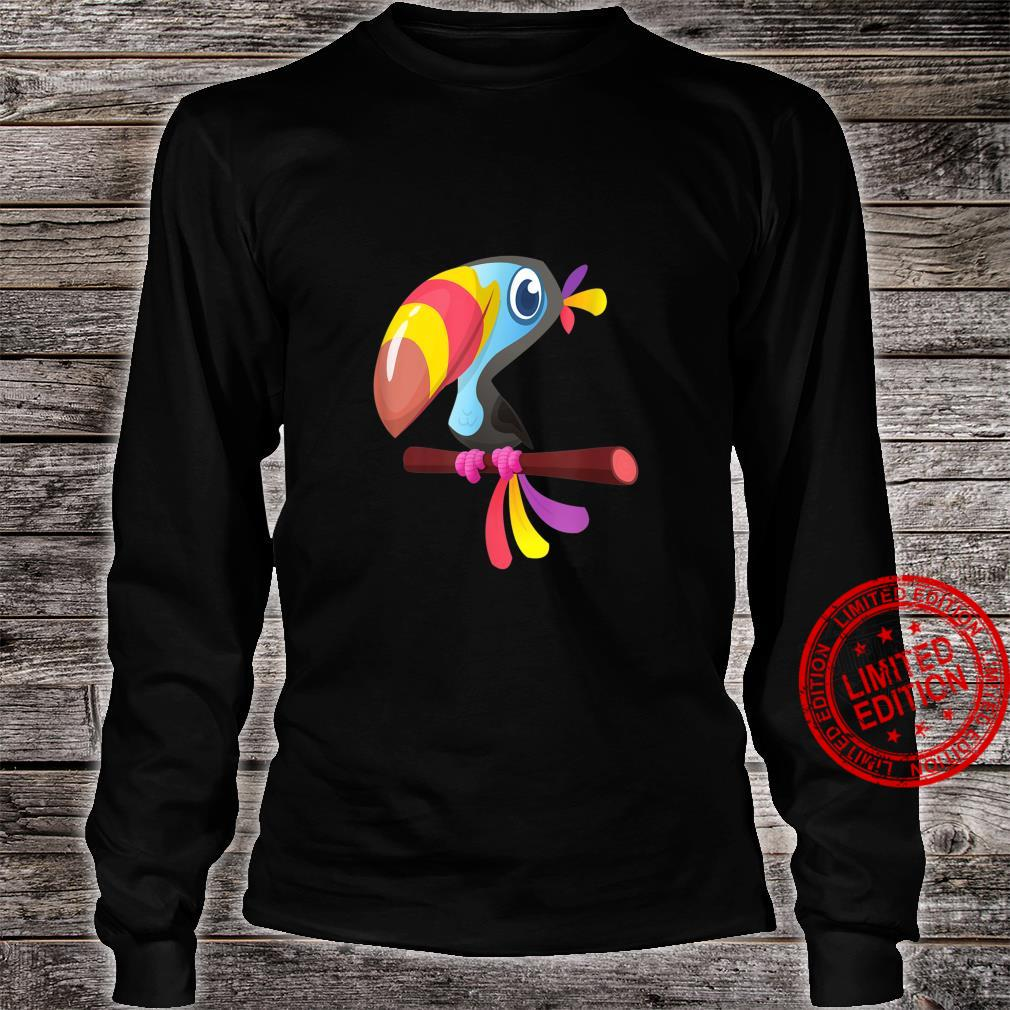 Colorful Toucan On Branch Cute Tropical Birds Shirt long sleeved