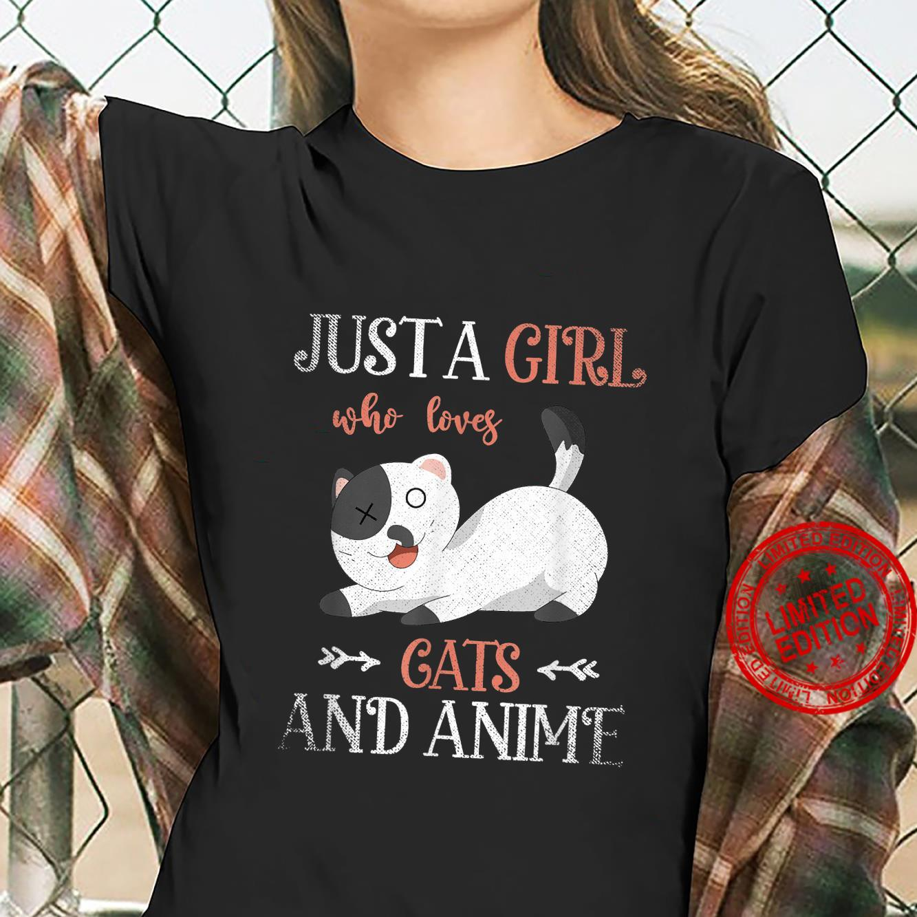 Cute Pet Cat Just A Girl Who Loves Cats And Anime Shirt ladies tee