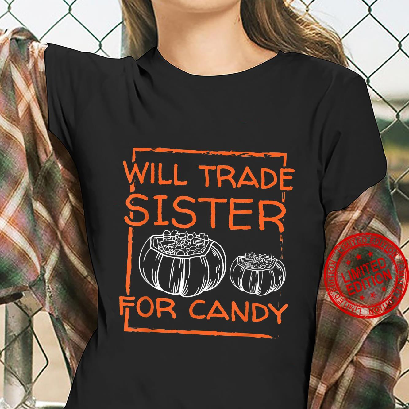 Halloween Scary Night Will TRADE For CANDY Horror Fan Shirt ladies tee