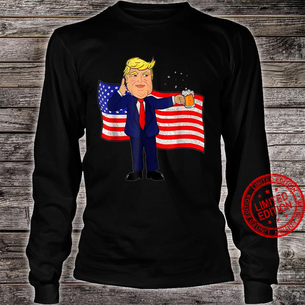 Independence Day 4th Of July Trump Drinking Beer Shirt long sleeved