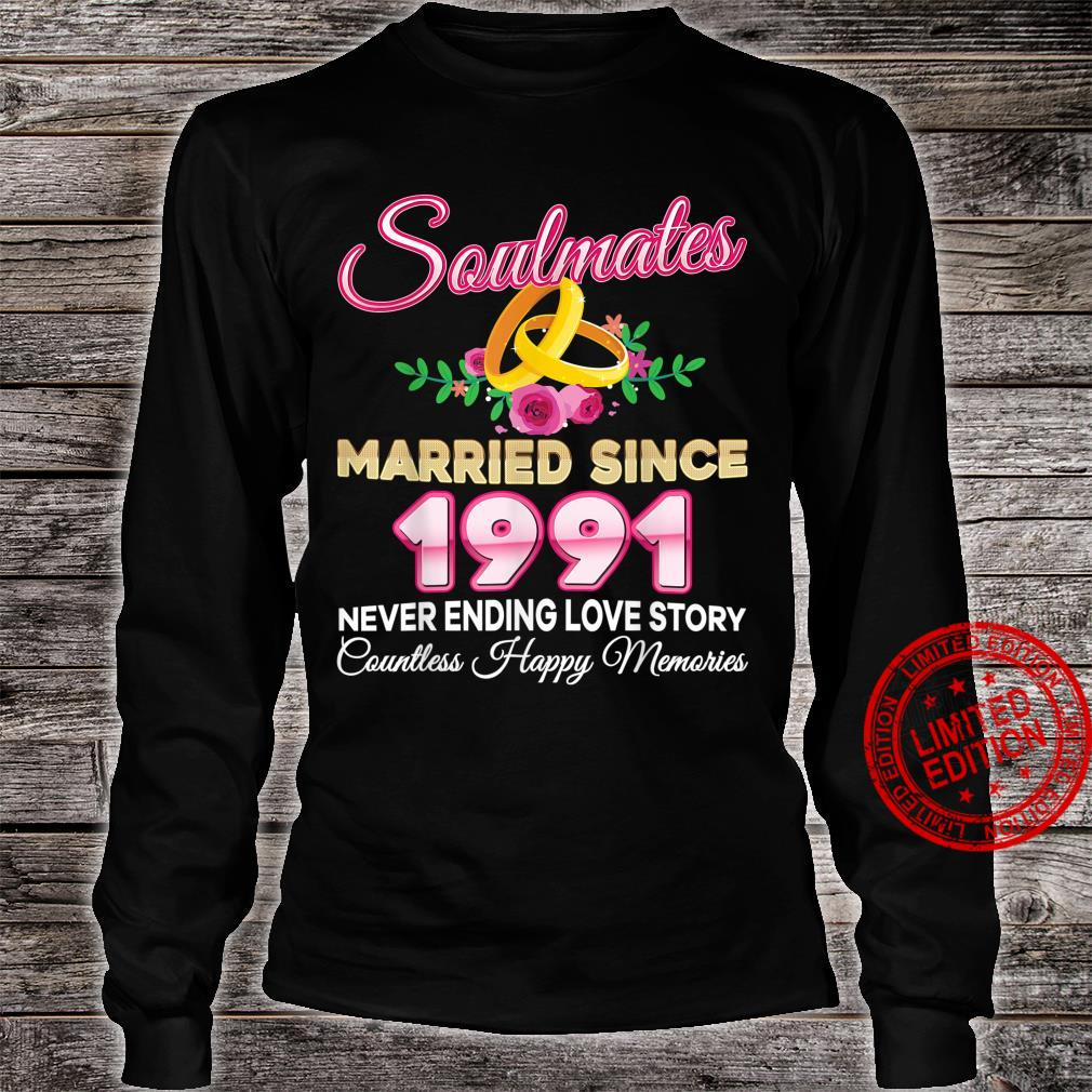 Soulmates Married Since 1991 30th Wedding Anniversary Retro Shirt long sleeved