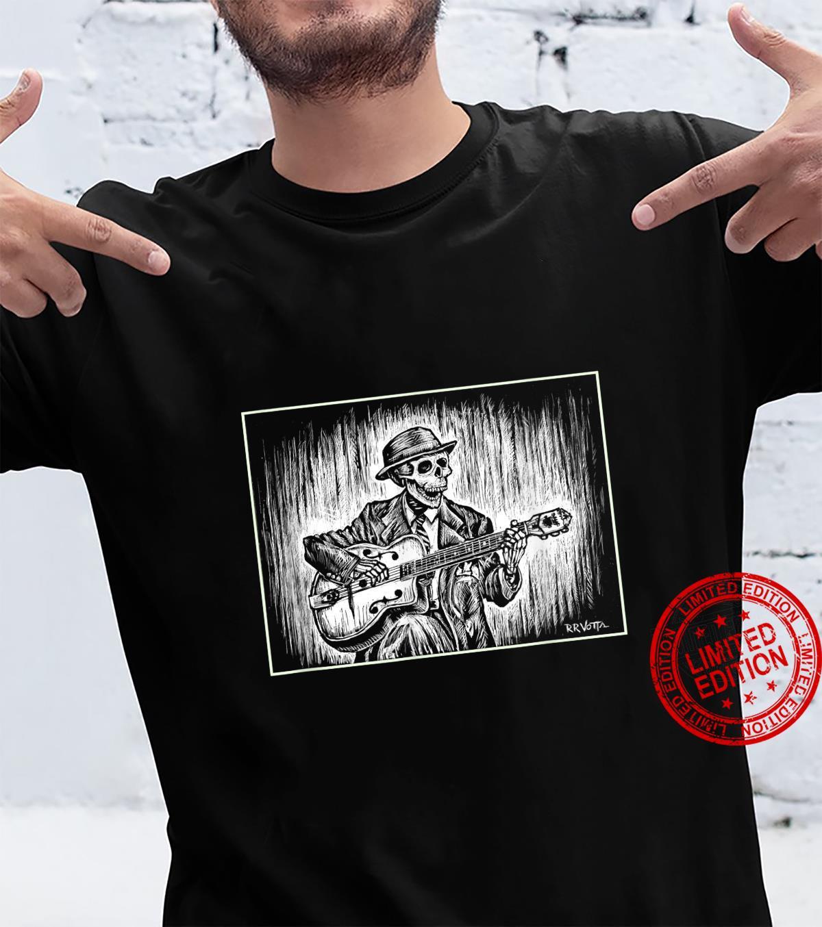 The Skeleton Balladeer Dark Background Design Shirt