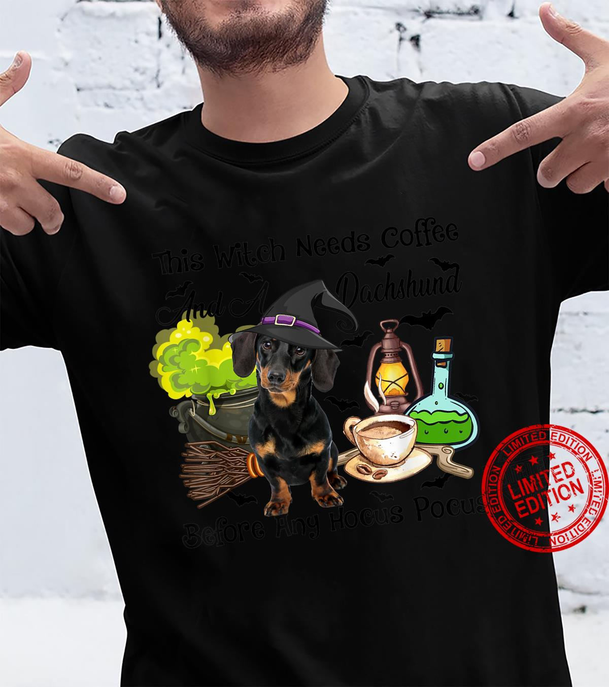 This Witch Need Coffee And A Dachshund Halloween Shirt