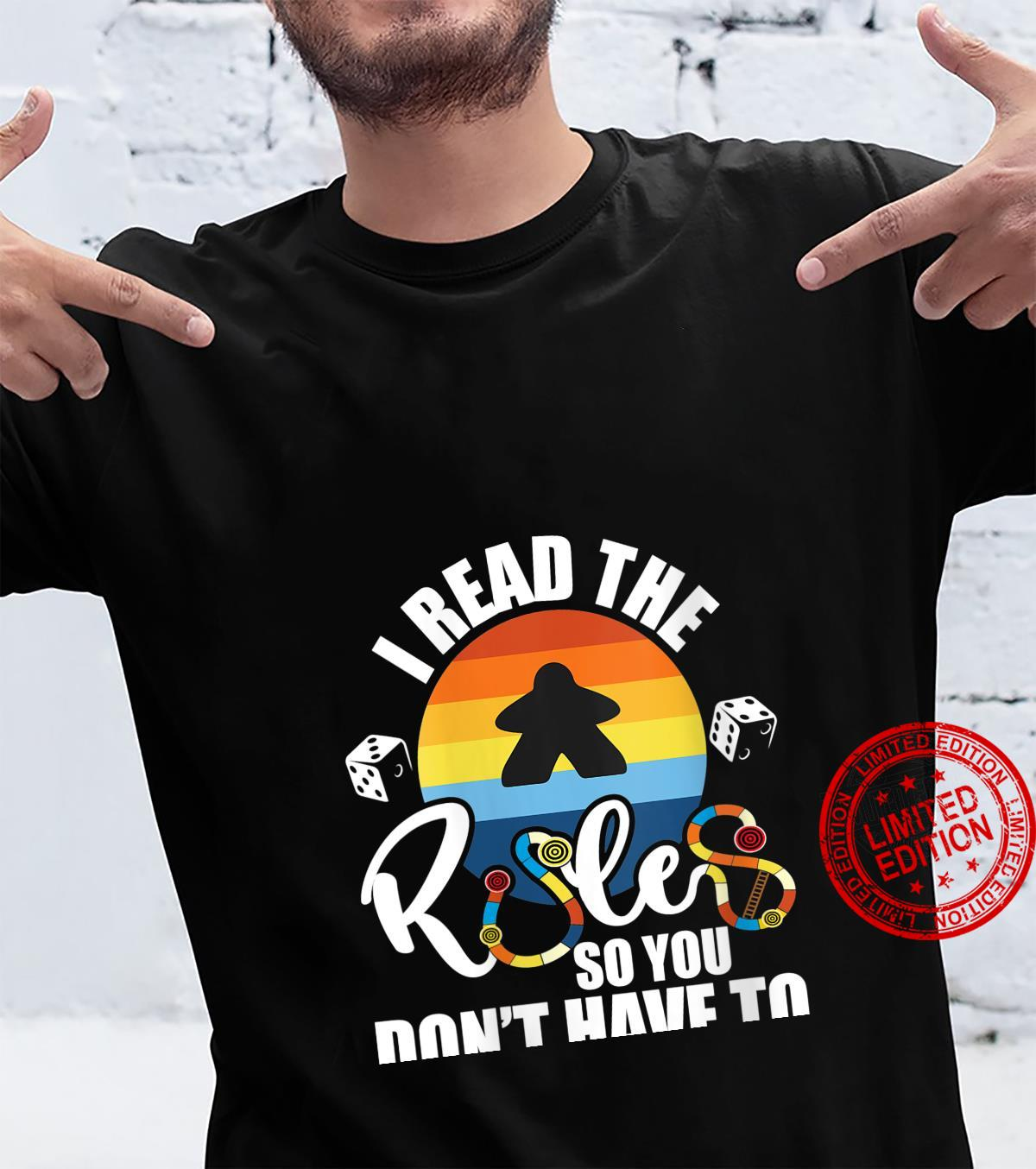Womens I Read The Rules So You Don't Have To Tabletop Board Game Shirt