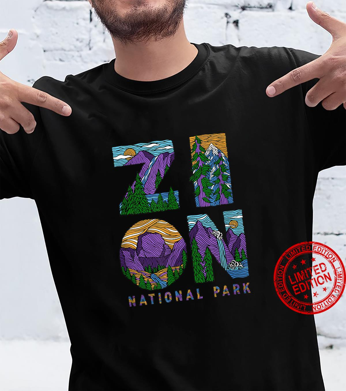 Zion National Park Utah Retro Hiking Camping Lettering Shirt