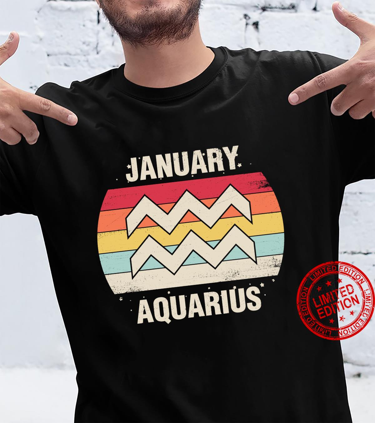 Aquarius January Birthday Retro Sign 70s 60s Shirt