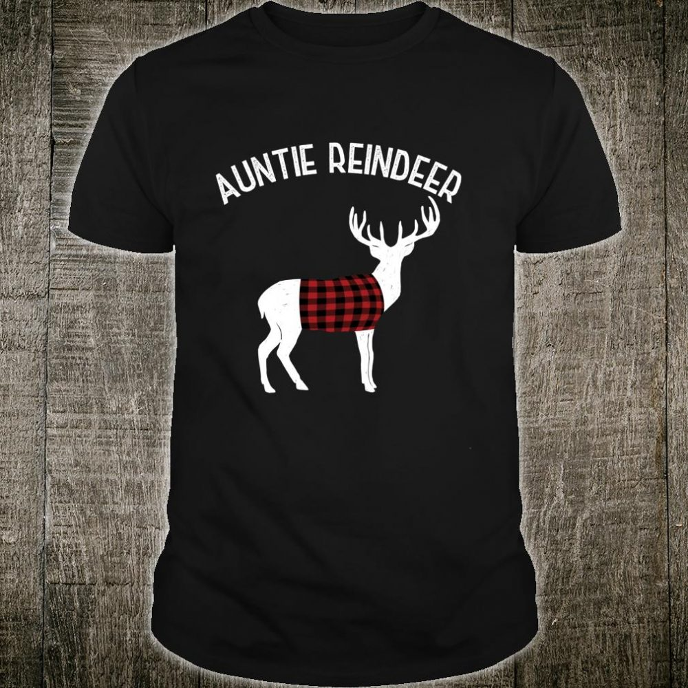 Auntie Reindeer Family Holiday Matching Buffalo Plaid Shirt
