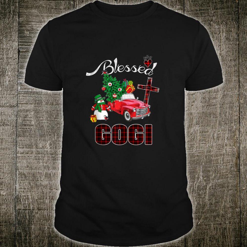 Blessed Gogi Christmas Tree Truck Buffalo Plaid Grandma Shirt