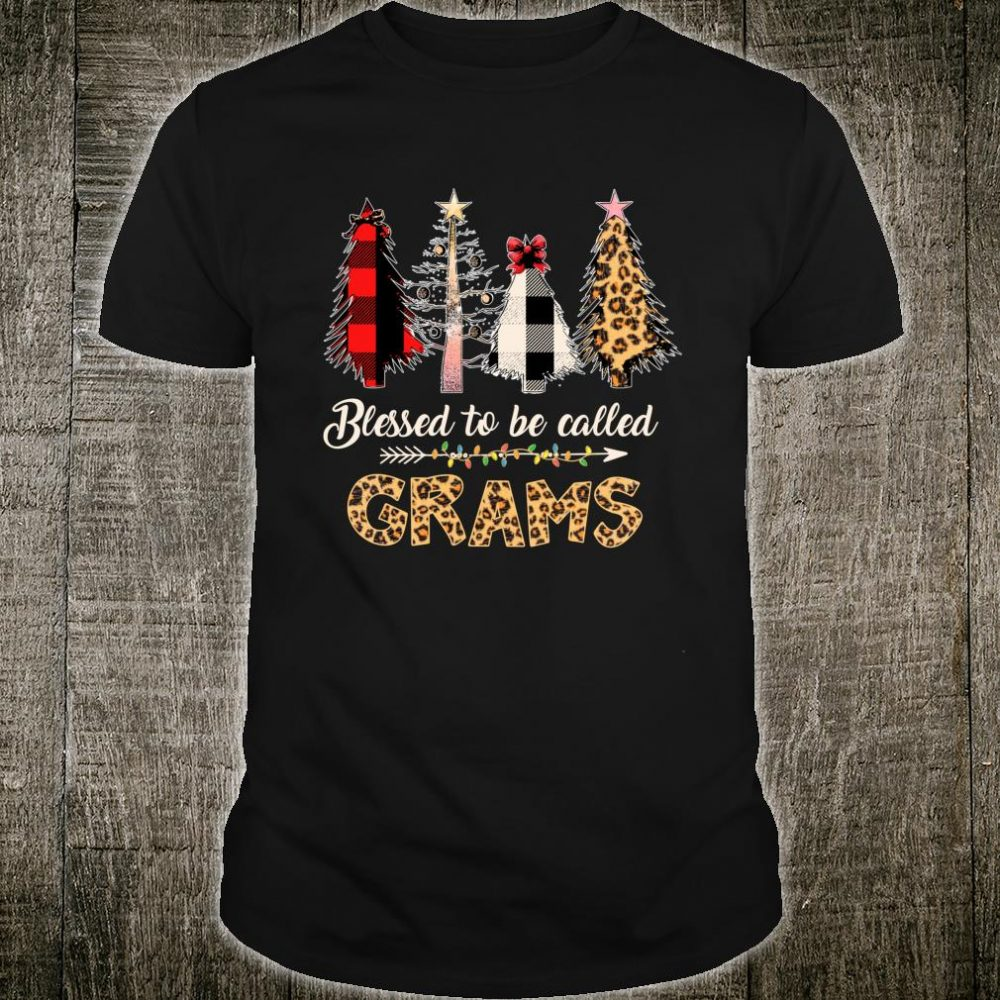 Blessed to Be Called Grams Leopard Red Plaid Buffalo Xmas Shirt