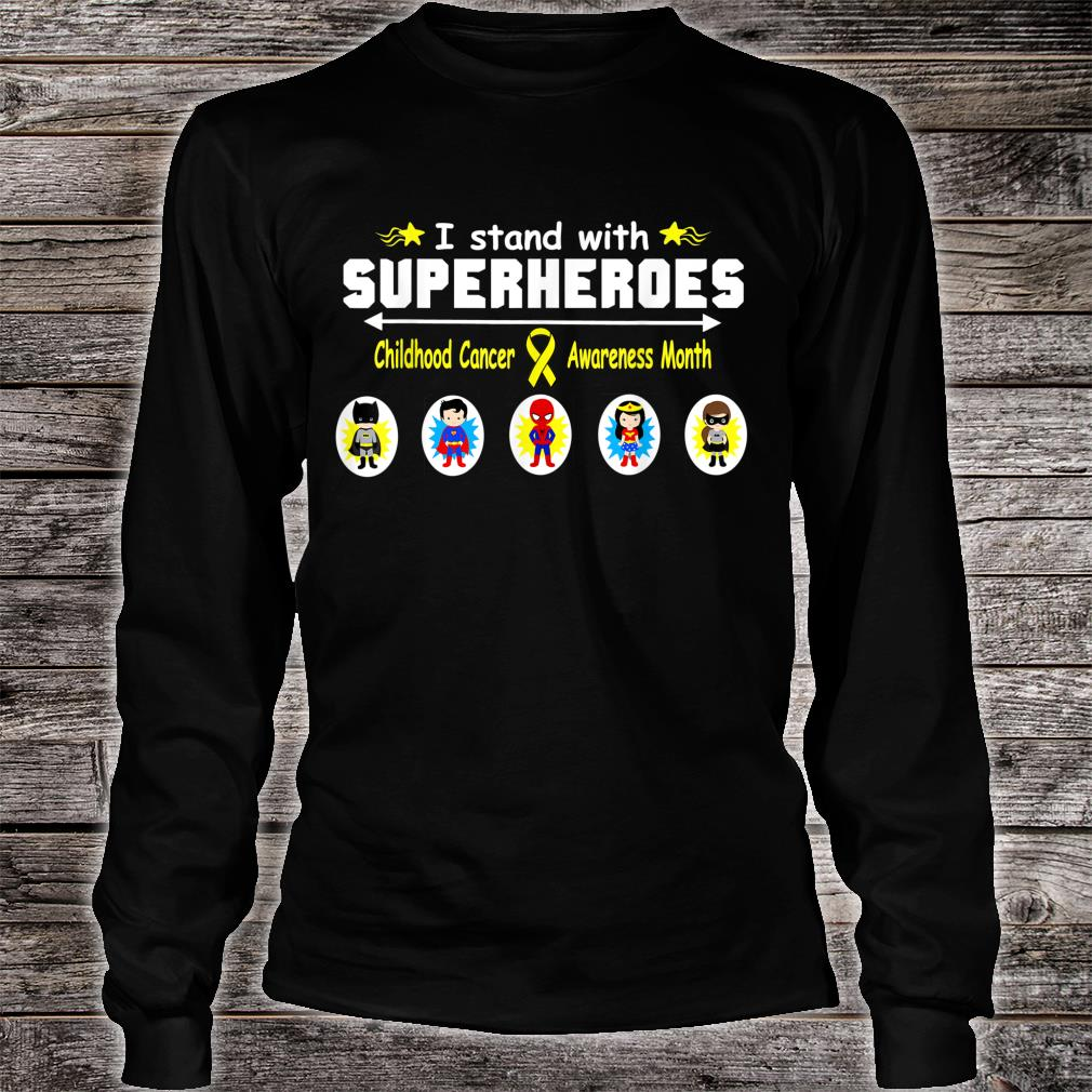 Childhood Cancer Awareness I Stand with Superheroes Shirt long sleeved