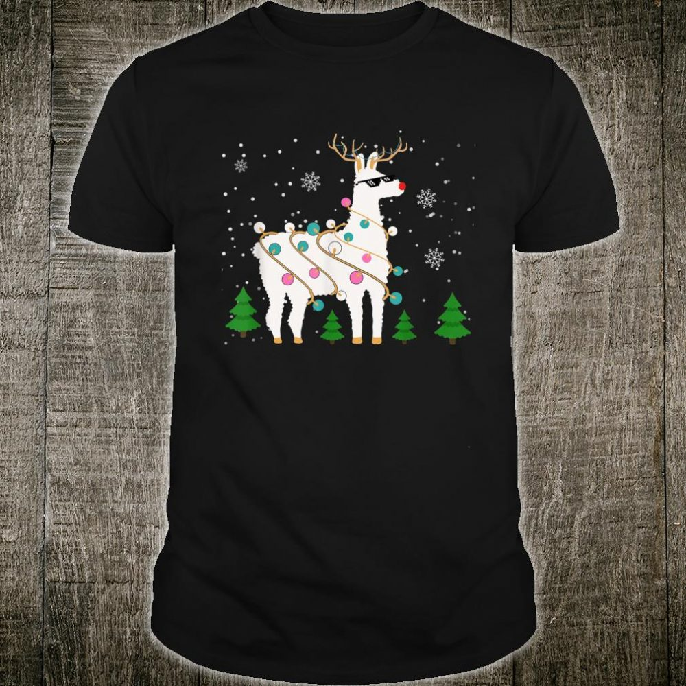 Christmas Llama Santa Hat Ugly Xmas Tree Alpaca Shirt