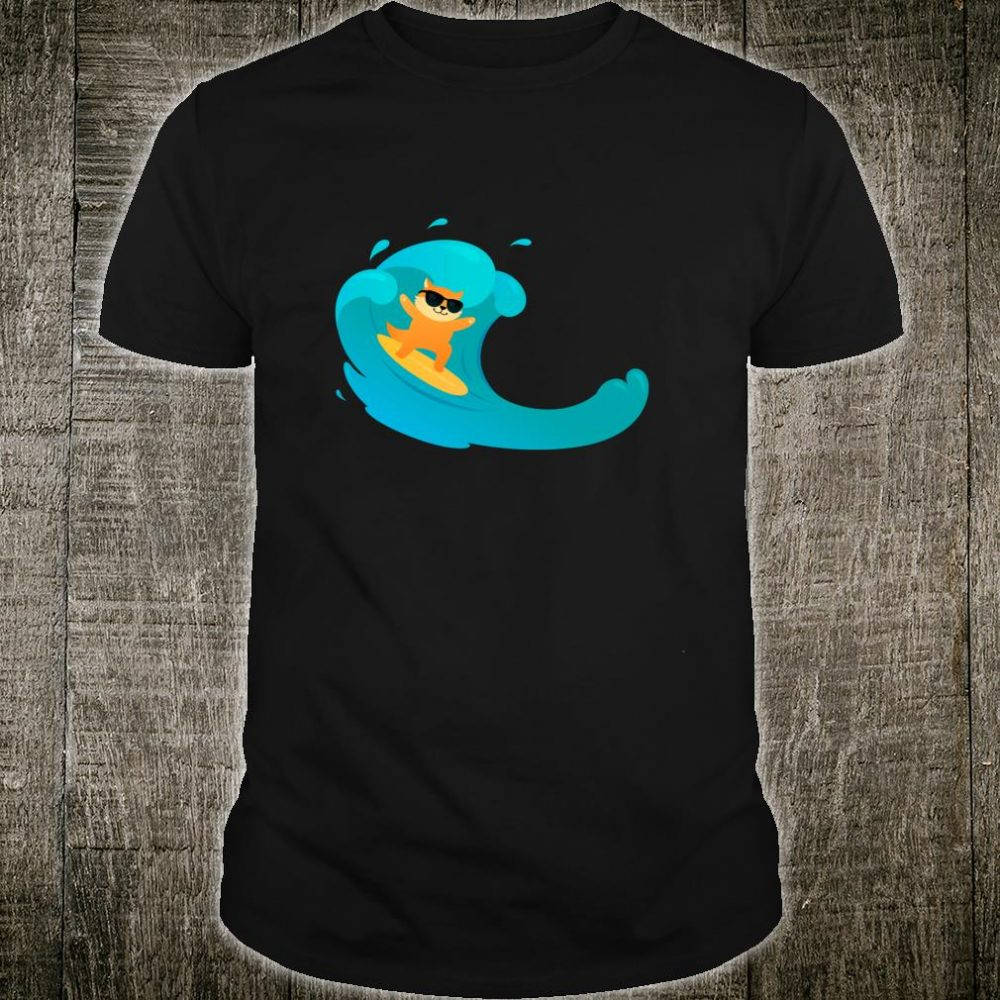Cool Cat On Surfboard Riding Wave Shirt