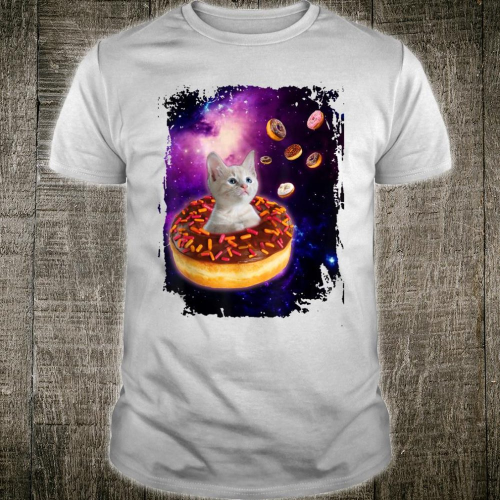 Cute Cat inside Donut in Space Shirt Kitty in Space Shirt