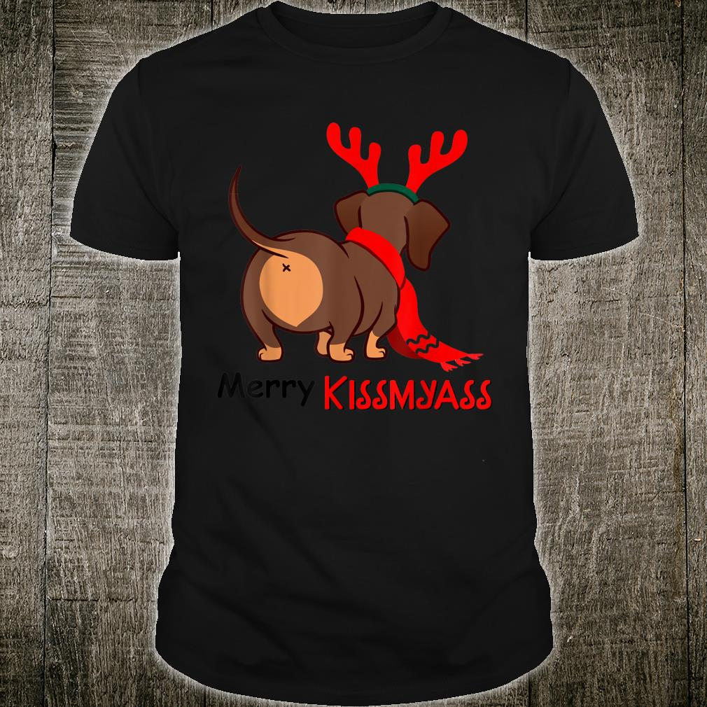 Dachshund Merry Kissmyass Xmas Christmas Shirt