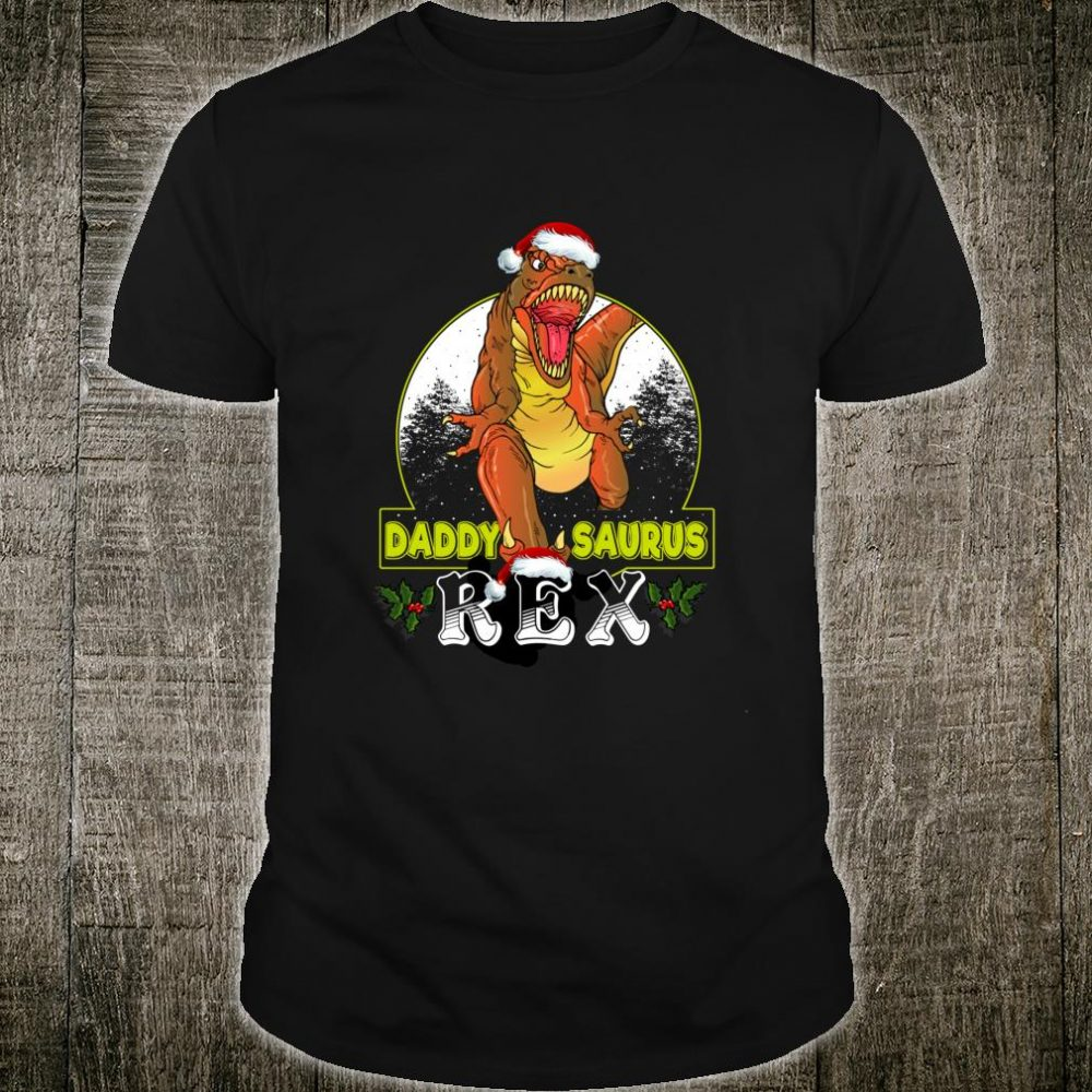 Daddy T Rex Matching Family Christmas Santa Hat Dinosaur Shirt