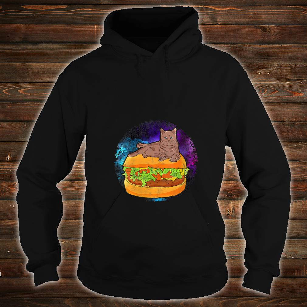 Funny Galaxy Outer Space Kitty Cat on Cheese Hamburger Shirt hoodie