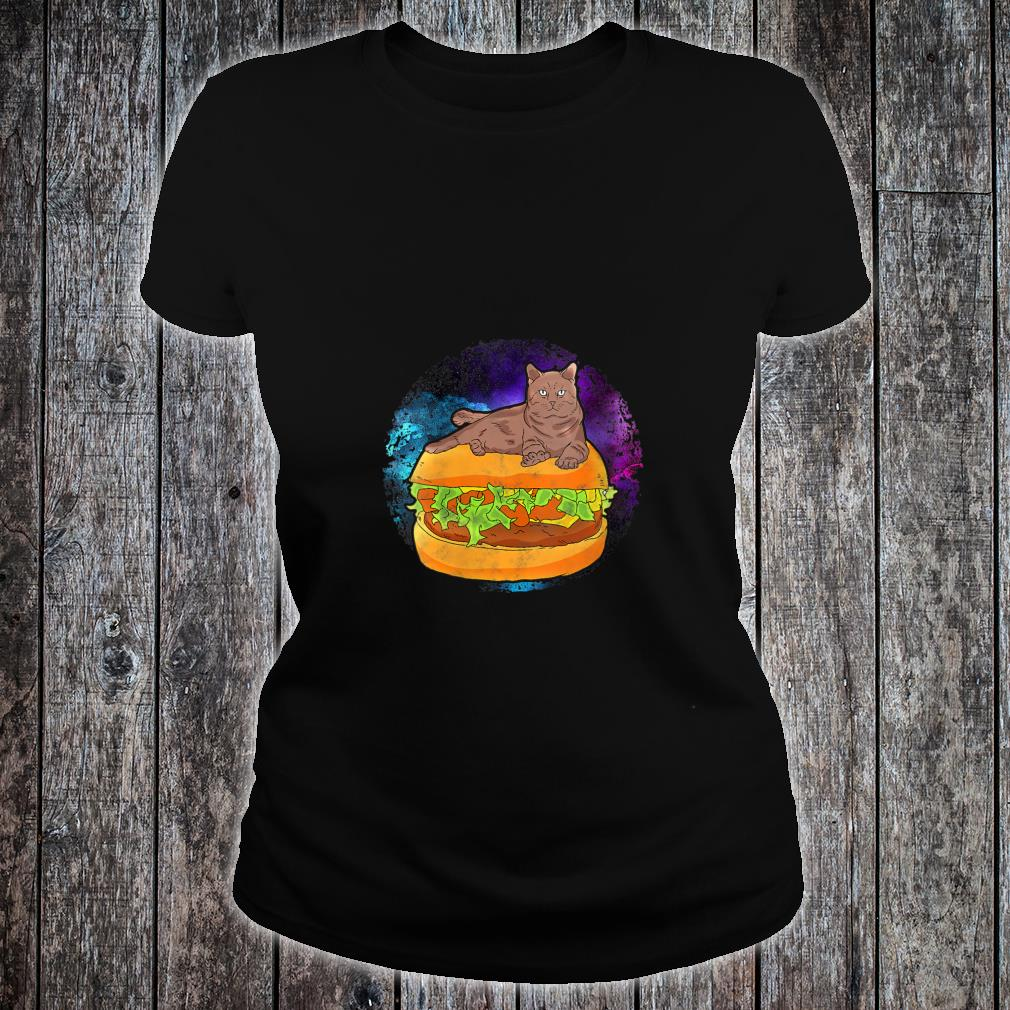 Funny Galaxy Outer Space Kitty Cat on Cheese Hamburger Shirt ladies tee