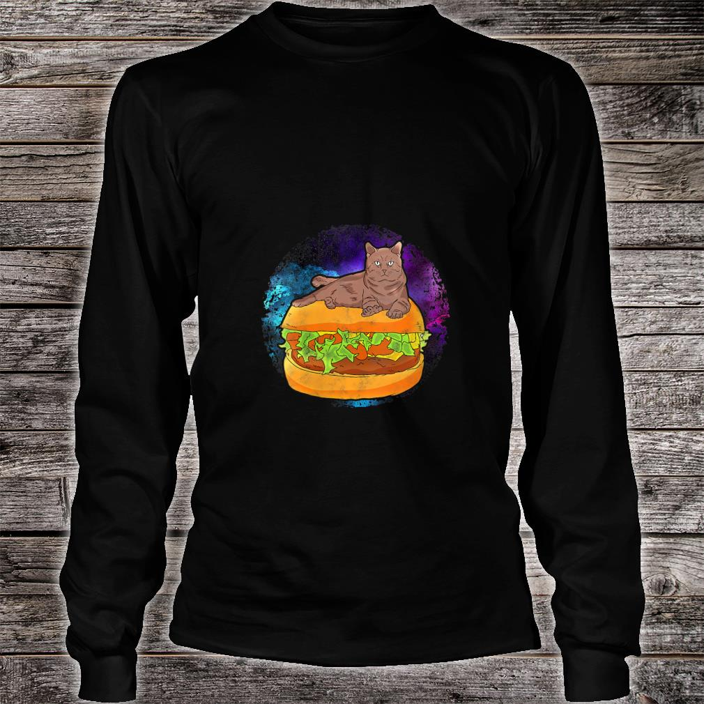 Funny Galaxy Outer Space Kitty Cat on Cheese Hamburger Shirt long sleeved