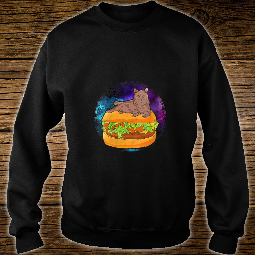 Funny Galaxy Outer Space Kitty Cat on Cheese Hamburger Shirt sweater