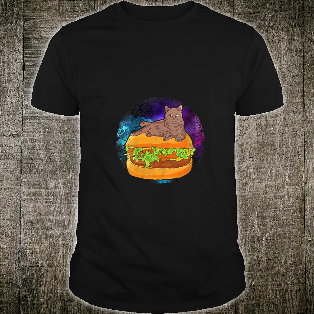 Funny Galaxy Outer Space Kitty Cat on Cheese Hamburger Shirt