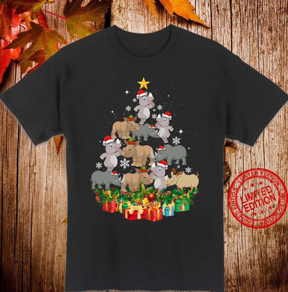 Funny Rhino Christmas Tree Cute Decor Xmas Snowman Santa Hat Shirt