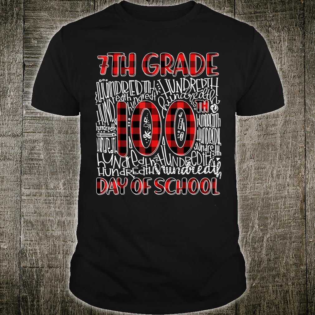 Happy 100th Day Of School 7TH GRADE Typography Red Plaid Shirt