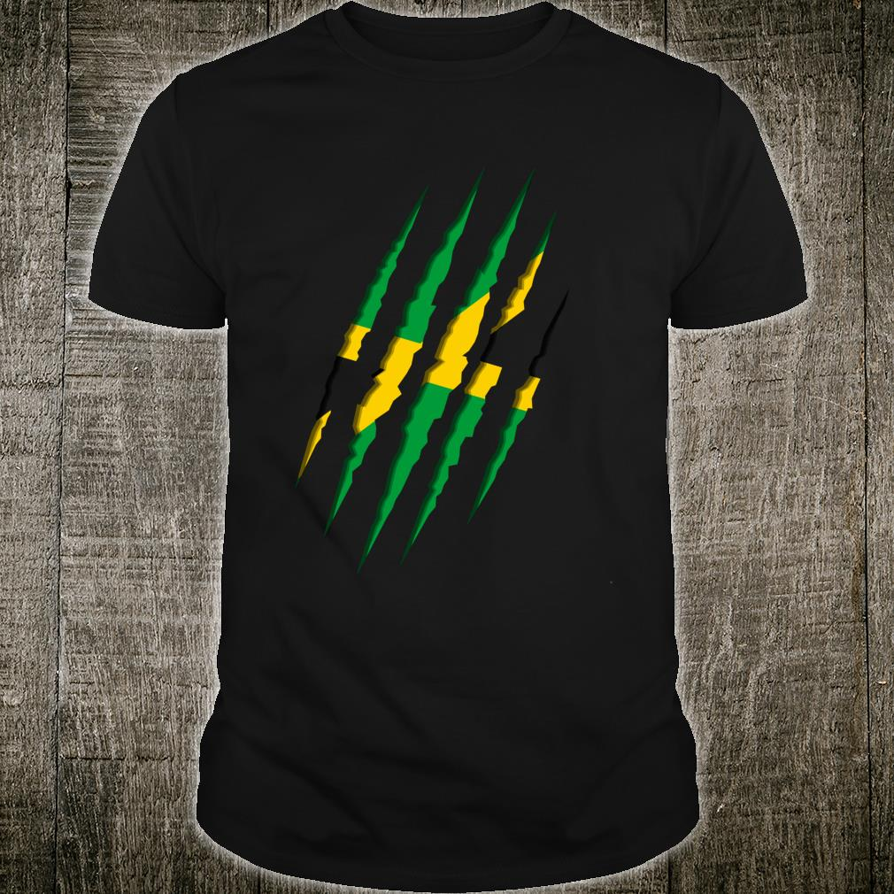 Jamaica flag coat of arms claw marks scratch claws Shirt
