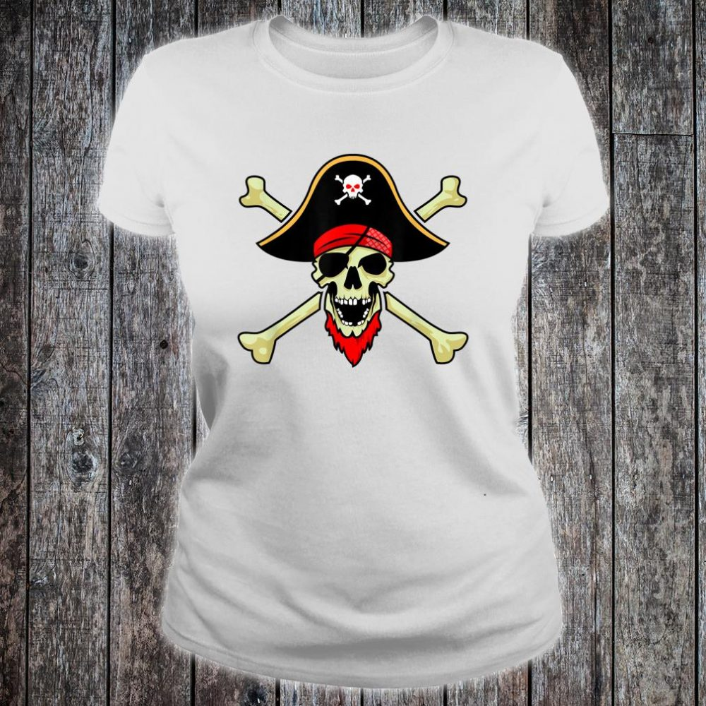 Jolly Roger Pirate Flag Skull Crossbones Buccaneer Corsair Shirt ladies tee