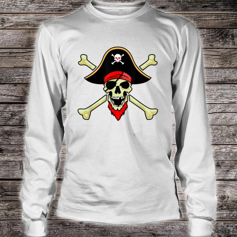 Jolly Roger Pirate Flag Skull Crossbones Buccaneer Corsair Shirt long sleeved
