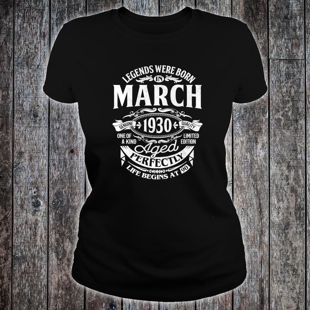 Legends Were Born In March 1930 90th Birthday Shirt ladies tee