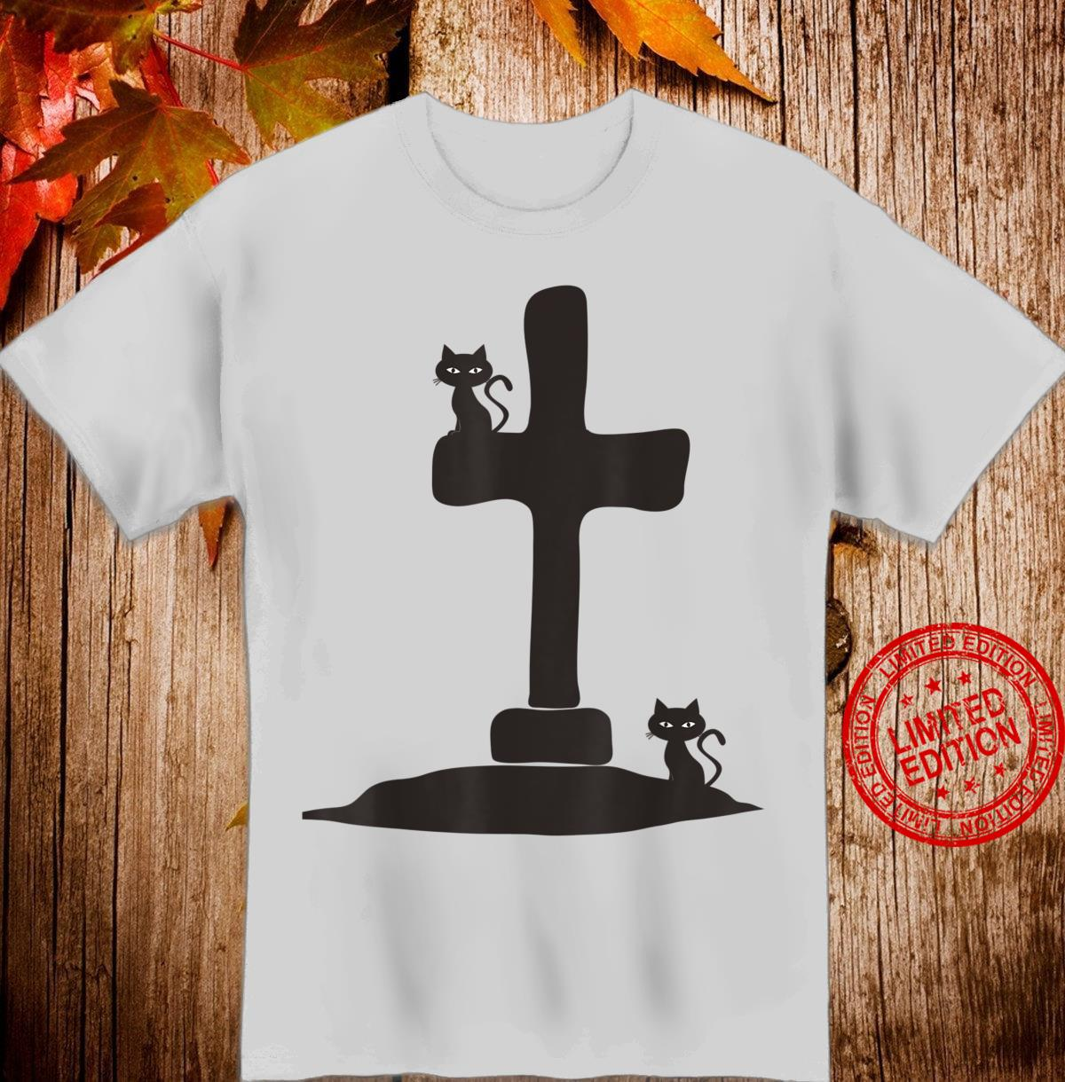 RIP Headstone with Spooky Black Cats Shirt