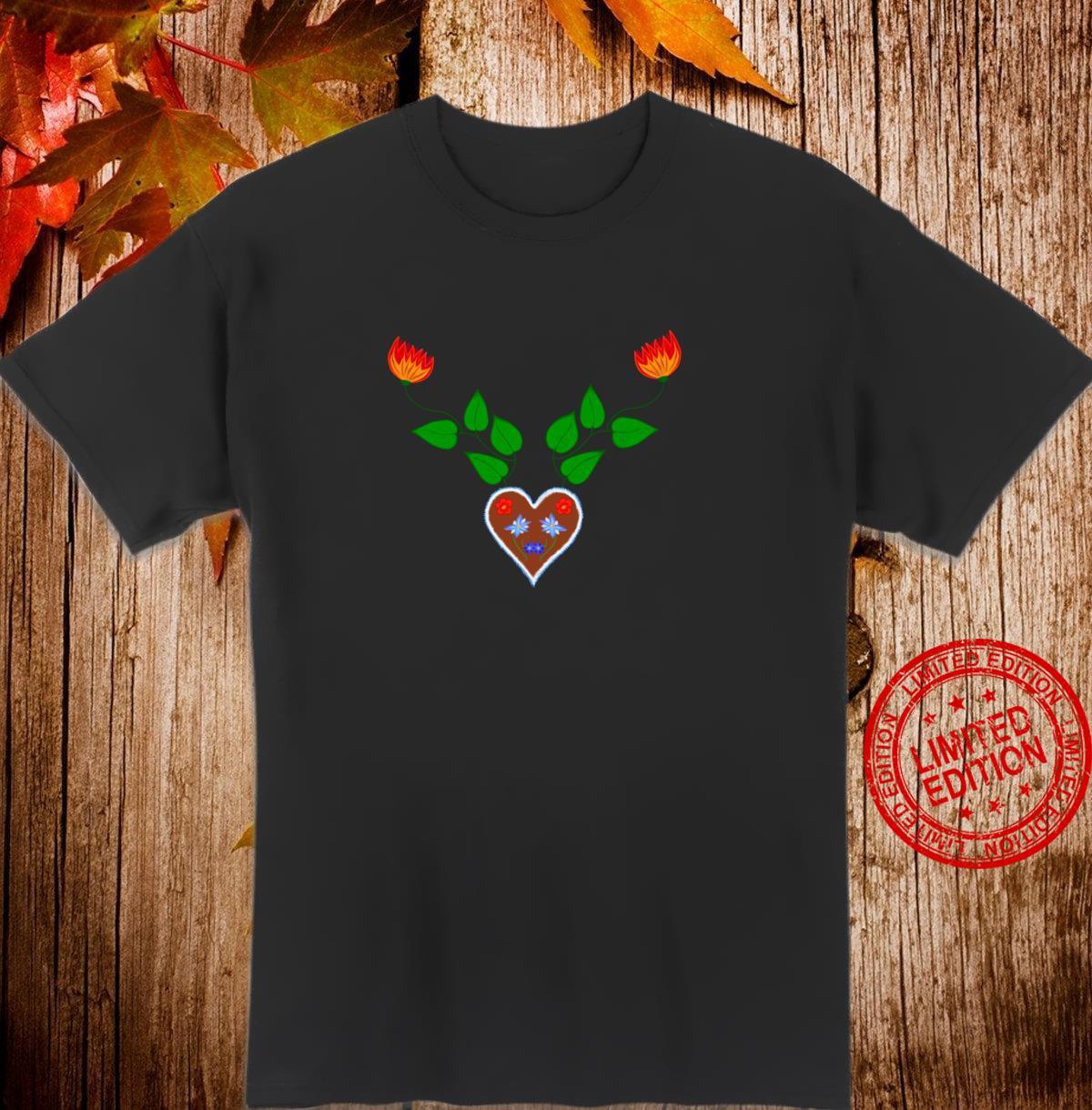 Romantisches Volksmotiv mit Blumen Geweih Shirt