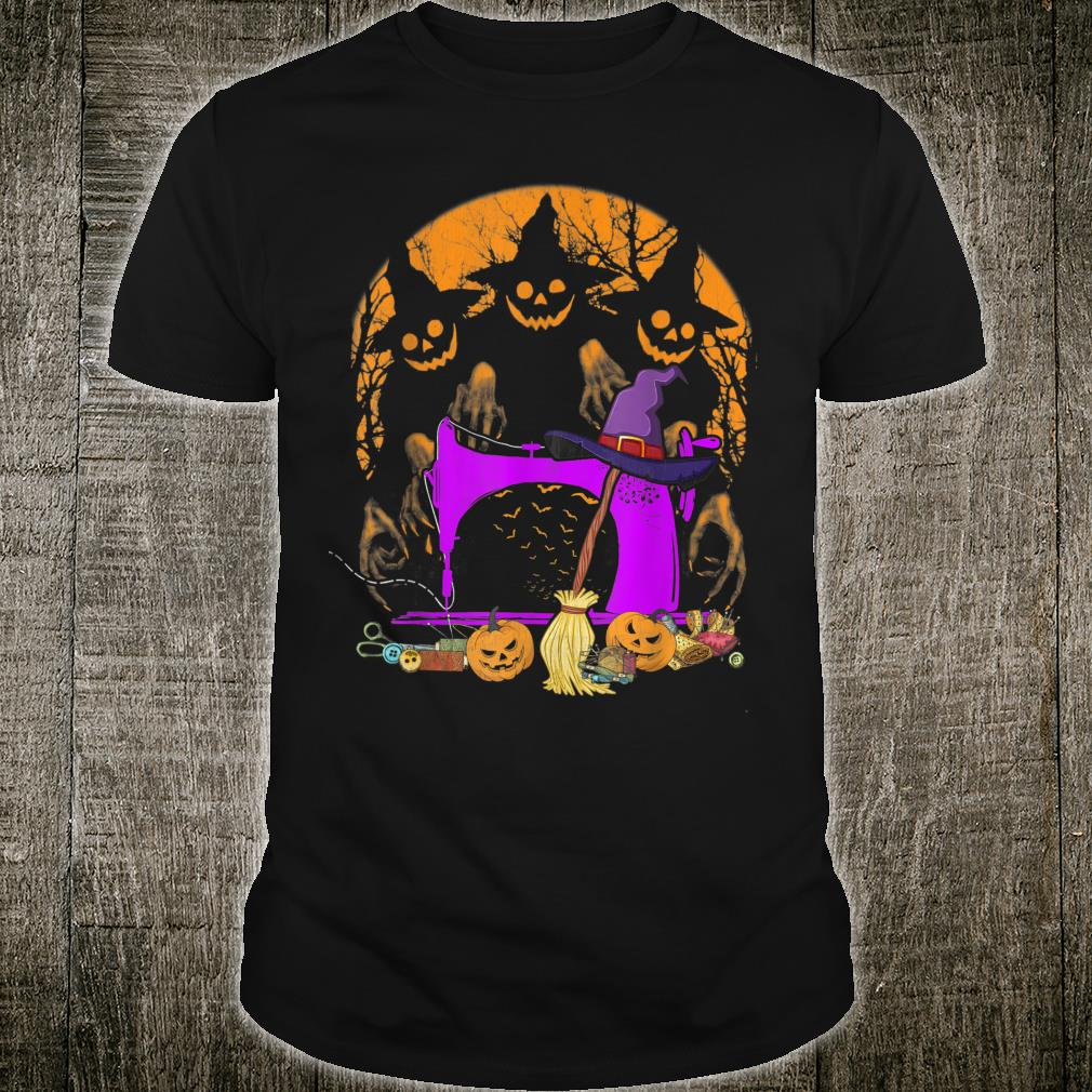 Sewing Machine Halloween Scary Witch Love Quilting Shirt