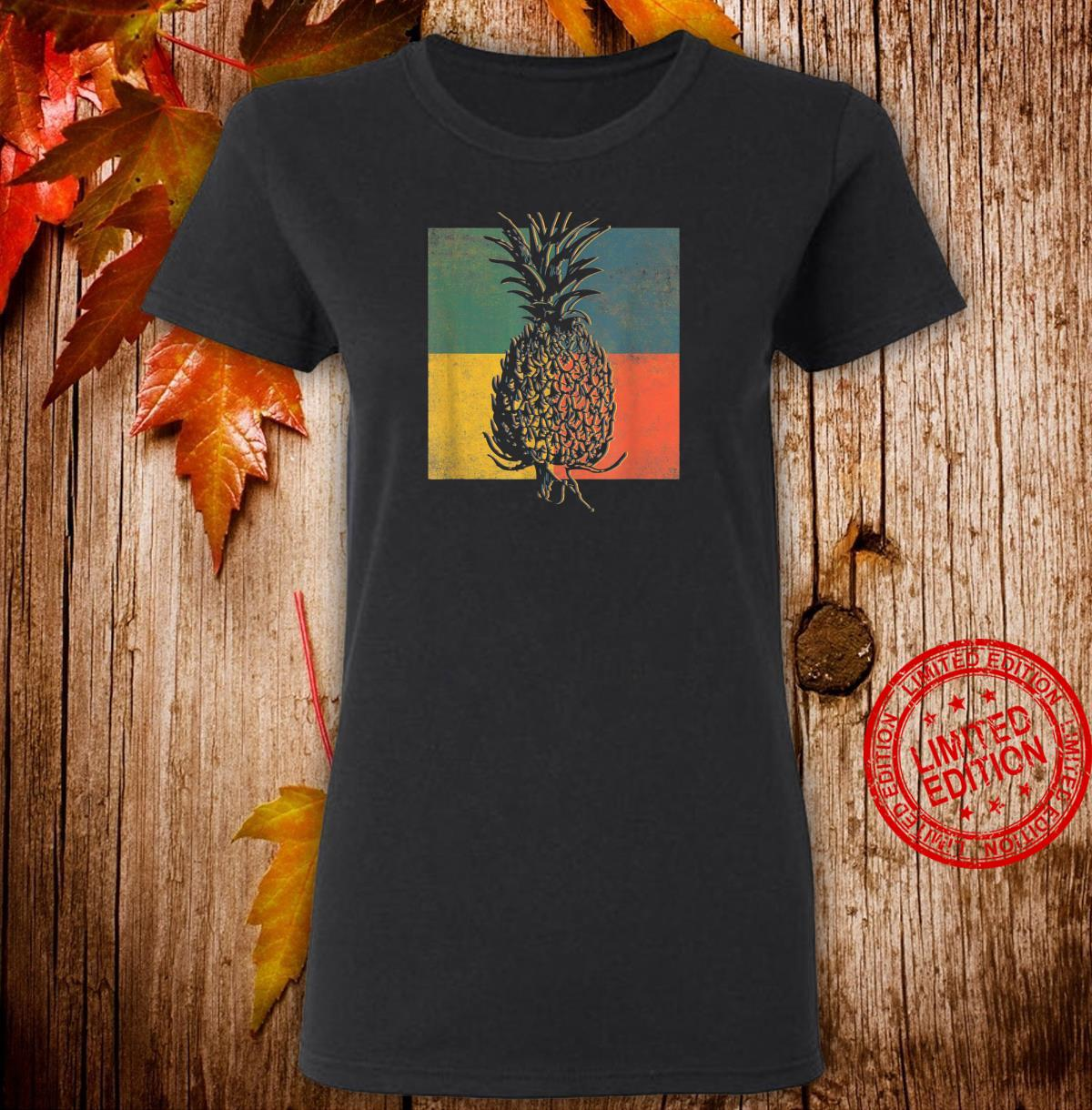 Tropical Pineapple Fruit Vintage Retro Shirt ladies tee