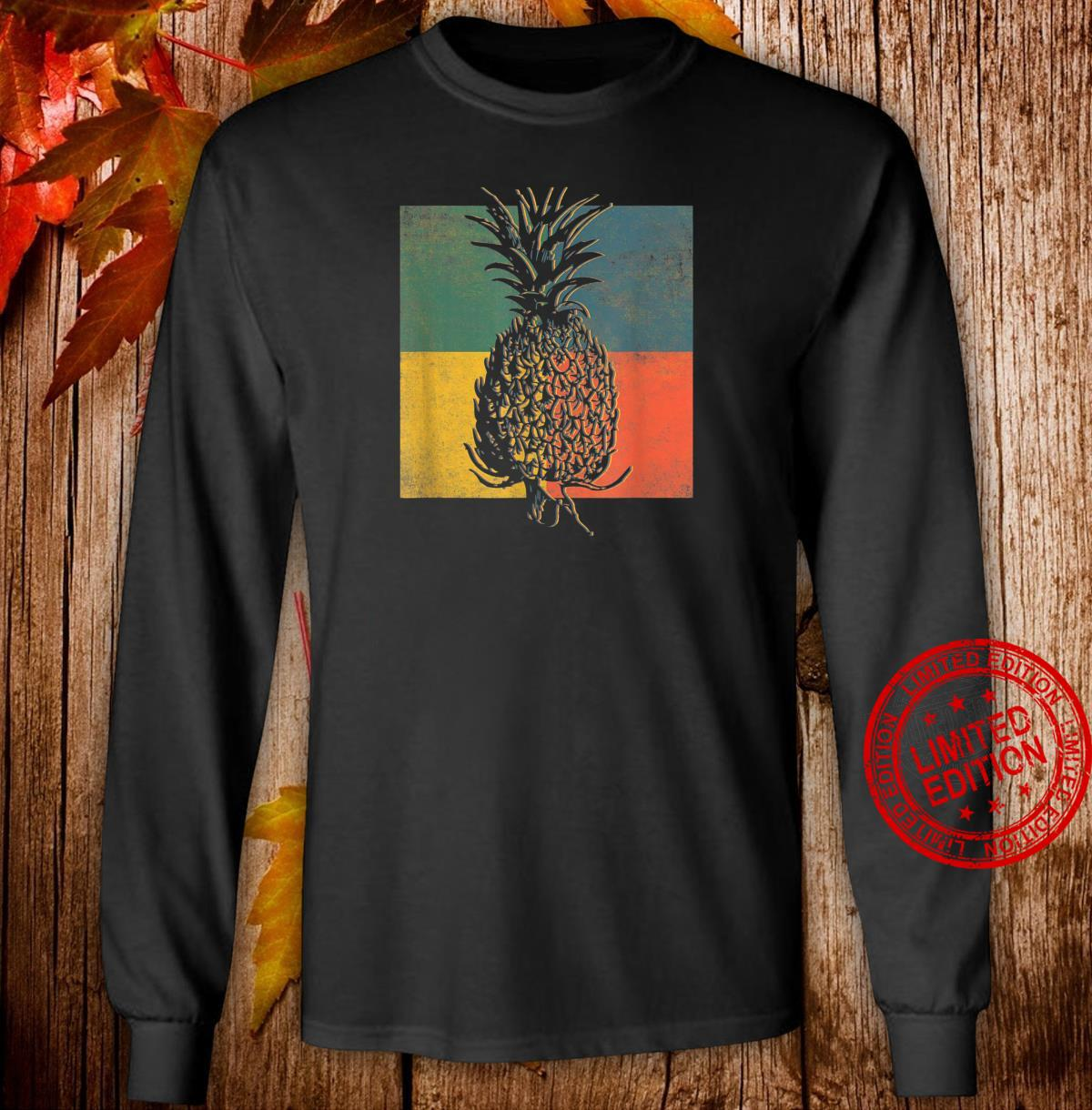 Tropical Pineapple Fruit Vintage Retro Shirt long sleeved