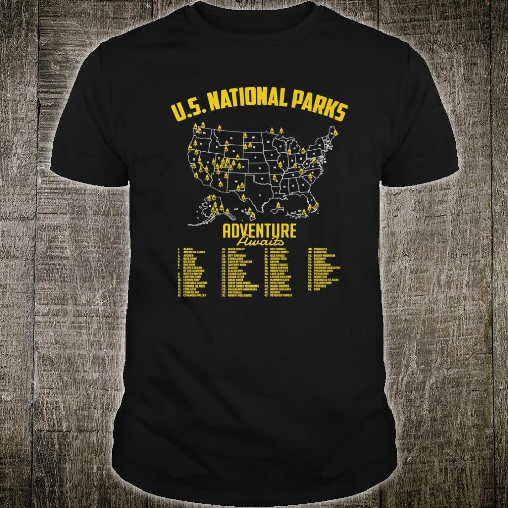 US National Parks Map Camping Hiking Outdoor Adventure Shirt