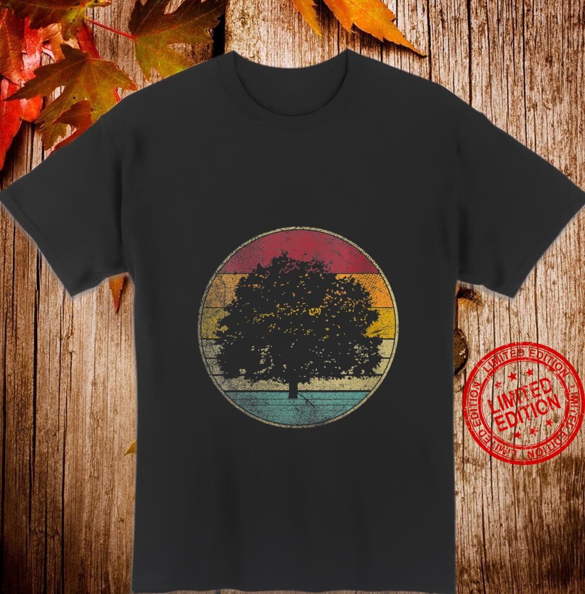 Womens Tree Nature Outdoors Vintage Distressed Retro Silhouette 70s Shirt