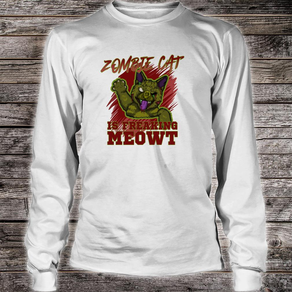 Zombie Cat Is Freaking MEOWT Halloween Costume Punny Shirt long sleeved