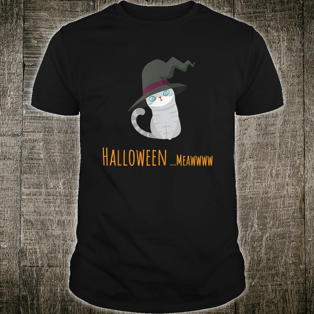 grey cat wearing witch hat costumed halloween Shirt